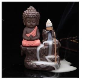 Meditating Monk Buddha Smoke Back flow Cone Incense Holder Decorative Showpiece  Ceramic Buddha Smoke Fountain  Fog Fountain Buddha For Home Decor