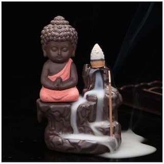 Meditating Monk Buddha Smoke Backflow Incense Holder ( Random Color ) with 10 Incense Cones