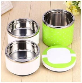 Meenamart.Com Stainless Steel Three Layer Office/School Lunch Box 3 Containers Lunch Box 3 (1250 ml)
