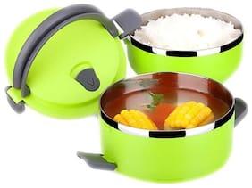 Meenamart. Com Stainless Steel 2 Layer Lunch Box Green