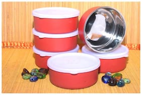 Meenamart. com Microwave Safe Stainless Steel Small Containers Bowl for Office / Home - Set of 6 (Orange, 300ml Approx.)