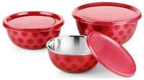 Meenamart. Com Stainless Steel Air tight Micro Wave Safe Bowl Set  (Red, Pack of 3)