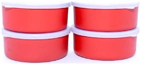 Meenamart. comMicrowave Safe Stainless Steel Small Containers Bowl for Office / Home - Set of 4 (Orange, 300ml Approx.)