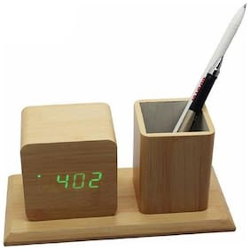 Meenamart Wood Digital Alarm clock ( Set of 1 )