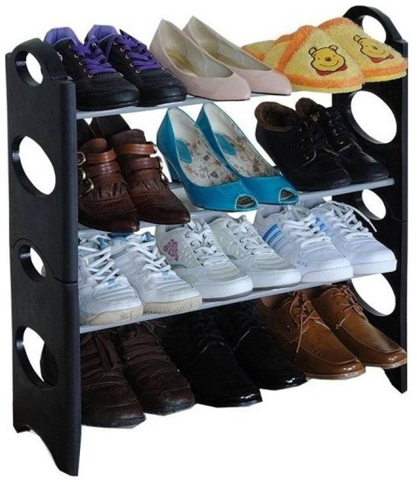 Meenamart Plastic, Carbon Steel Collapsible Shoe Stand   Black, 4 Shelves