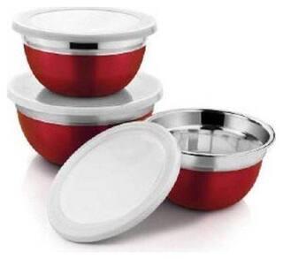 Meenamart  Red Stainless Steel German Bowls Set Stainless Steel Serving Bowl  (Red, Pack of 3)