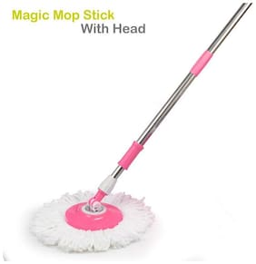 Meenamart Stainless Steel Cleaning Mop Rod with Fiber Head