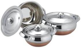 Meenamart stainless steel copper bottom handi