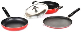 Meet Silicone Kadai, Fry Pan and Dosa Tawa Gift Pack With 1 S.S.Lid, 2.6 mm, 3-Piece, Black