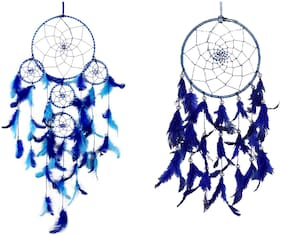Meher Collection Blue Dream Catcher Combo of 1 Large and 1 Medium Size Traditional Indian Wall Art for Bedrooms, Home Wall, Hanging Design (Pack of 2)