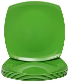 Deemark Melamine Square Half plate pack of 6-GREEN