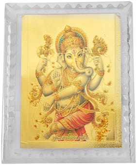 Memoir 24KT Gold Plated Brass Card;Ganesh;Ganpati Photo Frame Stand;Hindu God Idol Diwali Offer Puja Item;Home Decor Diwali Special Offer