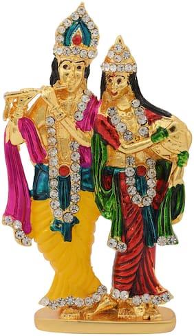 Memoir Gold Plated Brass;Cubic Zircon;and Colourful Enamel;Radha Krishna Idol Stand Hindu god;Home Decor Stand