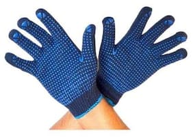 Menage  Dotted Cotton Safety Hand Gloves for Better Grip-Set of 3 Pair
