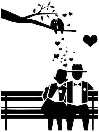 4e06ddc69 Buy Mesleep Love Couple Design Black Wall Sticker - Medium Online at ...