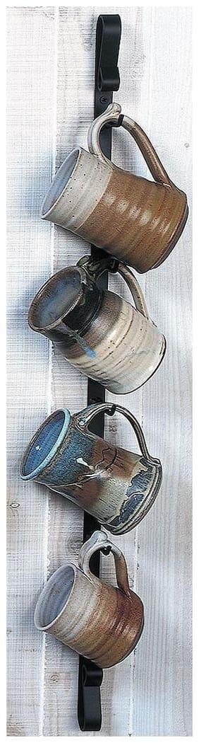 Metal Wall Mug Rack - Vertical - Holds 4 Mugs - Made in the USA
