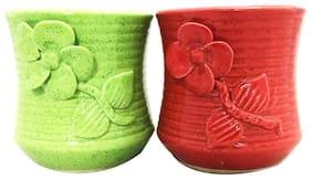 Metier Glazed Pot For Plants -2 pieces Indoor Ceramic Planters