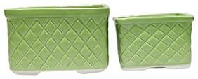 Metier Rectangular Ceramic Flower Planter Set Of 2 pcs for Plants/Desk Home Indoor Outdoor Decoration - 2 pcs