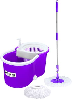 Metis P 912 Plastic Spin Cleaning Bucket Mop with Easy Wheels with 2 Refills (Purple)