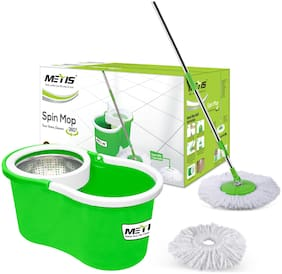 Metis S-911 Stainless Steel Spin Cleaning Bucket Mop with 2 Refills (Green)