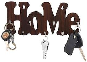 Metvan Home Cut Wood Key Holder  (7 Hooks, Brown)