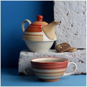 Miah Decor Single Serving Kettle & Mug Multicolour Stoneware -Set of 2