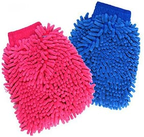 Micro Fiber Double Sided Gloves Assorted Colors Pack of 2
