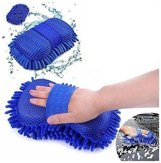 Microfiber  Cloth Sponge Hand Gloves dashboard cleaning  (Paack of 1) MultiColor