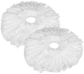 Microfiber Replacement Head Refill for Rotating Spin Mop Cleaner (Pack of 2),(White)