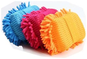 Microfiber Washer Towel Duster  For Mitt Sponge (Multicolor) 3Pc