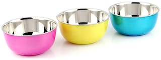 Microwave Safe Stainless Steel Plastic Coated Red Green Yellow Bowl(Set of 3)-13 cm Each