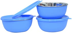 Microwave Safe Stainless Steel Plastic Coated Blue Bowl(Set of 3)-13 cm Each