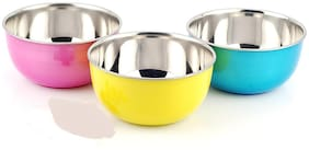 Microwave Safe Stainless Steel Plastic Coated Red Blue Yellow Bowl(Set of 3)-13 cm Each