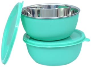 Microwave Safe Stainless Steel Plastic Coated Green Bowl(Set of 2)-13 cm Each