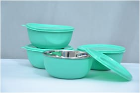 Microwave Safe Stainless Steel Plastic Coated Green Bowl(Set of 4)-13 cm Each
