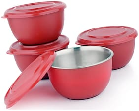 Microwave Safe Stainless Steel Plastic Coated Red Bowl(Set of 4)-13 cm Each