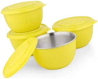 Microwave Safe Stainless Steel Plastic Coated Yellow Bowl(Set of 4)-13 cm Each
