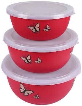 Microwave Safe Stainless Steel Plastic Coated Designer Euro Bowl Set of 3 (Capacity 450 ML 700 ML 1200 ML)-RED Color