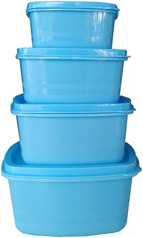 JAVIA BROTHERS 300;600;900;1200 ml Blue Plastic Container Set - Set of 4