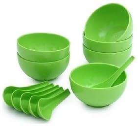 Microwave Safe Big Round Soup Bowl Set of 6 Bowls & 6 Spoons(Polypropylene Plastic)