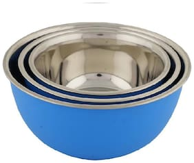 Microwave Safe Bowl Set Multicolor Plastic Coated 3pc Stainless Steel Bowl Set