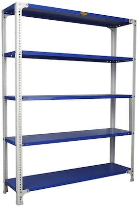 Mil-Nil Prime CRC Sheet 4 Shelf Multipurpose Slotted Angle Rack;60 x 47 x 12 Inch;22 Gauge [(Blue-White) Powder Coating]