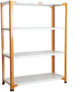 Mil-Nil Prime CRC Sheet 4 Shelf Multipurpose Space Saving Storage Rack;15 x 36 x 48 inch;24 Gauge (Ivory Orange)