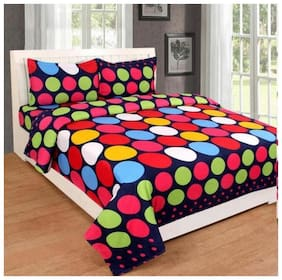Milap Poly Cotton Double Bedsheet With 2 Pillow Covers (Pack Of 3)