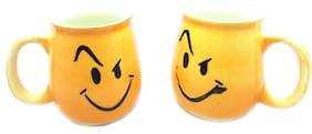 Millions Joy Emoji Milk mug Store 300 ml Yellow and White Ceramic Tea/Milk/Coffees (Set of 2)