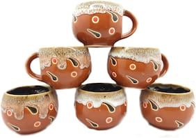Millions Joy Set of 6 Ceramic Pack of 6 Ceramic Ceramic Brown and multicolor Finish Tea and Coffee Cups