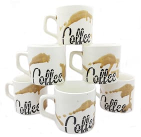 Millions Joy Ceramic Cup Saucer Coffee Printed Black (Set of 6 pcs) Hot & Cold Ceramic Cup & Saucer for Coffee & Tea (150ml_ White and Black & yellow)