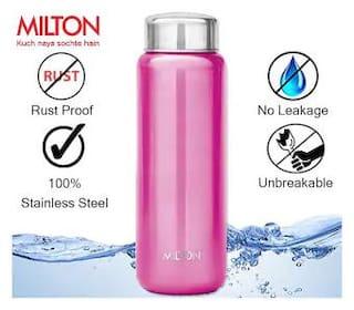 Milton Aqua 1000 ml Stainless Steel Pink Water Bottles - Set of 1