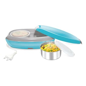 Milton Swiftron Stainless Steel 2 Containers Electric Lunch Box - Blue