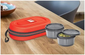 Milton Nutri 2 Containers Plastic Lunch Box - Red